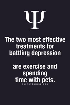 The two most effective treatments for battling depression are exercise and spending time with pets.