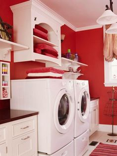 Laundry Rooms We Love - Love the bright pop of red against white.I want my laundry room to be inviting at least to me!-love the red walls Red Laundry Rooms, Laundry Room Colors, Laundry Room Design, Mud Rooms, Laundry Room Folding Table, Laundry Room Organization, Laundry Storage, Garage Laundry, Laundry Cabinets