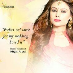 #customertestimonials #sarees #fashion #style #meghdoot #ethnicwear #apparel #sari Customer Feedback, Red Saree, Sarees, How To Wear, Wedding, Style, Fashion, Valentines Day Weddings, Swag