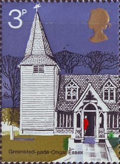 Village Chruches 3p Stamp (1972) St Andrew's Greensted-juxta-Ongar, Essex