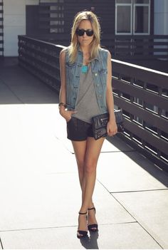 jean vest, grey tank, black shorts. Statement necklace. Shoes may vary