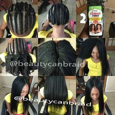 Flat ironed sew in with Cuban twist hair