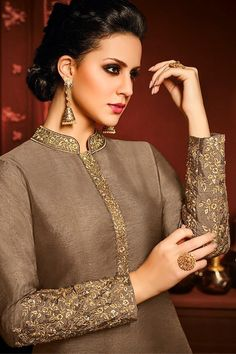 Brown and White Silk Party Wear Palazzo Suit Kurta Designs Women, Salwar Designs, Pakistani Outfits, Indian Outfits, Suit Fashion, Fashion Outfits, Fashion Clothes, Fashion Trends, How To Wear Hijab