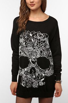 Mad Love Wild One Skull Sweater Online Only  urban outfitters