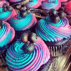 .Amanda Cupcake. Sweet Dreamer ♥: Wild Blueberry Velvet Cupcakes ♥  MSS NOTE:  FROST HALF IN BLUE AND HALF IN WHITE  FOR CHANUKAH.  Top with fresh blueberries.  She the blue and white example on Amanda's website.