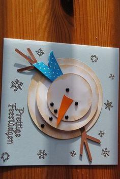 cute happy holidays card Christmas Arts And Crafts, Vintage Christmas, Christmas Crafts, Cool Cards, Diy Cards, Xmas Cards, Holiday Cards, Snowman Cards, Craft Club