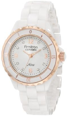 Armitron Women's 75/3920WTRG Ceramic Swarovski Crystal Rosegold-Tone and White Ceramic Bracelet Watch Armitron. $189.99. White glossy dial with silver-tone Arabic numerals at 12-3-6-9; Swarovski crystals at all other hours. White ceramic adjustable bracelet with deployment buckle. 35 mm white ceramic case with stainless-steel ratchet bezel with rosegold-tone graphics. Water-resistant to 30 M (99 feet). Rosegold-tone luminous hour hands; Sweep second hand; outside min...