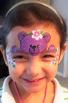 Teddy Bear/Flowers- Smiley Faces by Jo: Face Painting Images, Animal Face Paintings, Girl Face Painting, Face Painting Tutorials, Face Painting Designs, Animal Faces, Painting For Kids, Paint Designs, Tole Painting