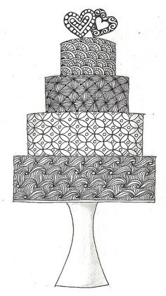 zentangle cake - Make copies & give to each kid with a box of crayons to color during your wedding reception.