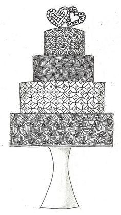Wedding cake zentangle by Barbara Finwall