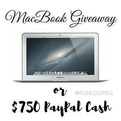 Script: Go to ----> @poshinprogress NEXT! . Hello friends! ❤ It's a great time for a brand new MacBook or PayPal cash! 💻💰🎉 I've teamed up with some amazing Instagram ladies to give one of you a MacBook Air or $750 PayPal cash! No purchase necessary! All you have to do is enter for your chance to win! . Let's have some fun! #Follow these simple steps below to enter for your chance to win it all! 💎. 1.) Follow me. We double check!  2.) Like this post. This is how we see your entry.  3.)…