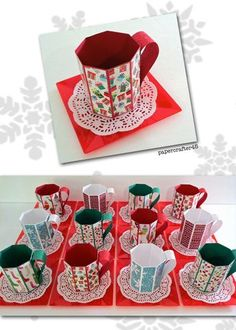 Fun & easy-to-make Christmas treat mugs. Fill with assorted little goodies for a whimsical holiday gift! Stampin Up Christmas, Christmas Treats, Christmas Cards, Christmas Mugs, Christmas Projects, Holiday Crafts, Christmas Paper Crafts, Chocolate Navidad, 3d Templates