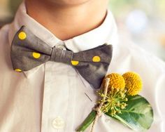 Weddbook ♥ Yellow polka dots bow tie and yellow craspedia boutonniere for groom. DIY boutonniere with craspedia. Grey Bow Tie, Yellow Bow Tie, Polka Dot Bow Tie, Polka Dots, Gray Yellow, Wedding Trends, Wedding Styles, Wedding Photos, Wedding Ideas