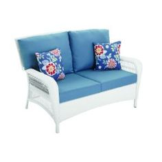 Martha Stewart Living Charlottetown White All Weather Wicker Patio Loveseat  With Washed Blue Cushions