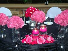 Wedding Idea Hot Pink Black And White Themed Rhinestone Accents