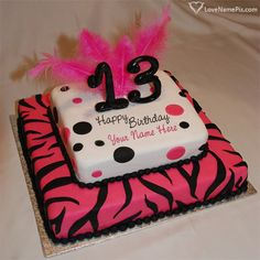 For a young girls birthday, her mother wanted a special cake. 12 inch WASC cake with Oreo Mousse filling and covered in. 13th Birthday Party Ideas For Girls, Happy 13th Birthday, 13th Birthday Parties, Birthday Doodle, Brithday Cake, 13 Birthday Cake, Birthday Stuff, Zebra Birthday, Rainbow Birthday