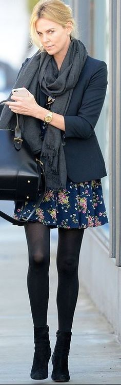 grey black scarf, blue blazer, blue floral skirt, black tights, black suede ankle boots