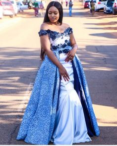 Image may contain: 1 person, standing and outdoor Setswana Traditional Dresses, African Traditional Wedding Dress, Traditional Wedding Attire, African Dresses For Kids, African Lace Dresses, Latest African Fashion Dresses, Wedding Dresses South Africa, African Print Wedding Dress, Seshweshwe Dresses