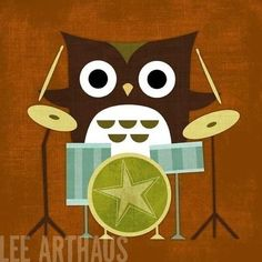Retro Owl With Drums Print By Lee ArtHaus - contemporary - nursery decor - Etsy