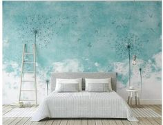Fantastic Hand Painted Clouds Dandelion Wallpaper Wall Mural, Fresh Teal Background Clouds Dandelions with Seagulls Nature Wall Mural Custom Wallpaper, Wall Wallpaper, 3d Wallpaper Blue, Dandelion Wallpaper, Smooth Walls, Cleaning Walls, Traditional Wallpaper, Paper Houses, Floral Wall