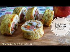 CARA MEMBUAT NASI GULUNG BEKAL ANAK SEKOLAH - YouTube Childrens Meals, Nasi Goreng, Baked Potato, Sushi, Eggs, Baking, Breakfast, Ethnic Recipes, Food