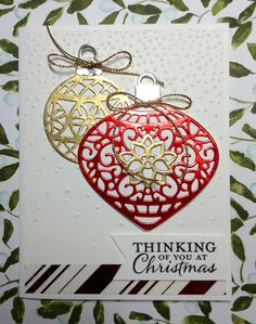 Embellished Ornament stamp set and Delicate Ornament Thinlits Dies by Stampin' Up! make this an easy card to make. Created by Linda. by lynette Stamped Christmas Cards, Homemade Christmas Cards, Christmas Cards To Make, Xmas Cards, Christmas Greetings, Handmade Christmas, Homemade Cards, Chrismas Cards, Father Christmas