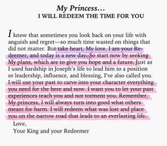 To My Princess... I will redeem the time for you