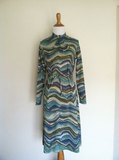 Mid Mod Psychedelic Print Dress Blue Grey by Infrequenties on Etsy, $30.00
