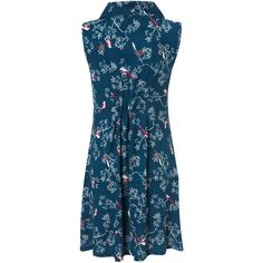 Teal Robin Print Tunic Dress