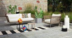Modern und trotzdem gemütlich: Die RIVER Outdoor Lounge mit Sofa und Sessel.