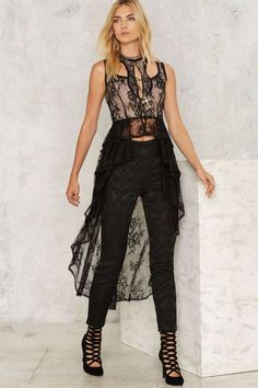 Nasty Gal Collection Out of the Shadows Lace Maxi Top - Nasty Gal Collection | Romantic Revolution | Last Chance | Blouses | Tops