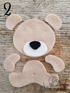 all the pieces of the felt bear - Stofftiere Felt Animal Patterns, Felt Crafts Patterns, Felt Crafts Diy, Stuffed Animal Patterns, Baby Crafts, Bear Felt, Felt Baby, Sewing Toys, Baby Sewing