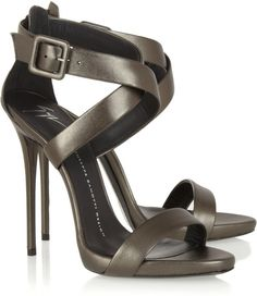 Love this: Metallic Leather Sandals @Lyst