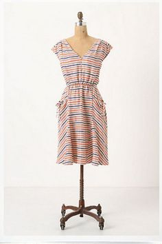 New $228 Anthropologie Postmark Vintage Correspondence Dress Silk Striped Size 6 #Anthropologie #Pulloverstyling #Casual