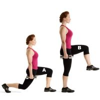 Works core, glutes, hamstrings, quads, and calves    Grab a pair of 10- to 15-pound dumbbells and stand with your feet together and your arms at your sides. Leading first with your left foot, lunge forward and lower your hips until both knees form 90-degree angles (A). With your right leg, pull yourself back to standing as you raise your left leg until your thigh is parallel to the floor (B). Balance on your right leg for one second, then return to start. Do 12 to 15 reps, then repeat on the…