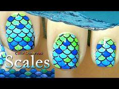 Fish Nail Art, Fish Nails, Cute Nail Art, Beautiful Nail Art, Gorgeous Nails, Nail Art Designs Videos, Nail Designs, Sponge Nail Art, Wave Nails