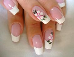 Flaunt the pink base and dazzling white tipped nails with the perfect French manicure. Go through the tips, procedure and striking French manicure ideas here. Flower Nail Designs, Pretty Nail Designs, Flower Nail Art, Toe Nail Designs, French Manicure Nails, French Tip Nails, Manicure And Pedicure, Manicure Ideas, Nail Ideas