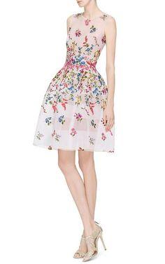 Sheer Embroidered Dress by Oscar de la Renta - Moda Operandi