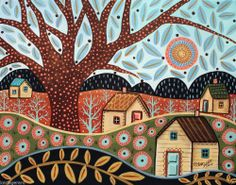 Valley 14x11 Houses Landscape ORIGINAL Canvas PAINTING FOLK ART ABSTRACT Karla G... New painting for sale...
