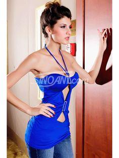 Sexy Blue Halter Club Top