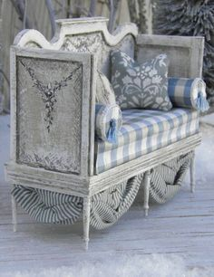 "French settee taupe and soft blue""Miniature pieces) __A full scale life size DIY…"