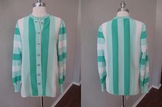 Green and White Striped Button Down Jacket or Layering Blouse