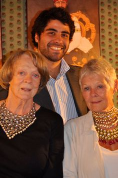 Dames Maggie Smith and Judi Dench with our host, Italo-Indian Samir Kasliwal.