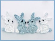 Crochet applique 4 small blue and white by MyfanwysAppliques, £3.00