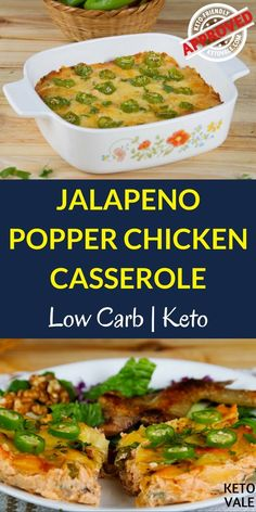 Low Carb Jalapeno Popper Chicken Casserole Recipe For Keto Diet via @ketovale