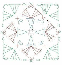 かぎ編み Crochet Japan : 四角モチーフ 8 【かぎ針編み】How to crochet granny square Crochet Squares, Motif Mandala Crochet, Point Granny Au Crochet, Granny Square Crochet Pattern, Crochet Blocks, Crochet Diagram, Crochet Chart, Crochet Stitches, Crochet Designs