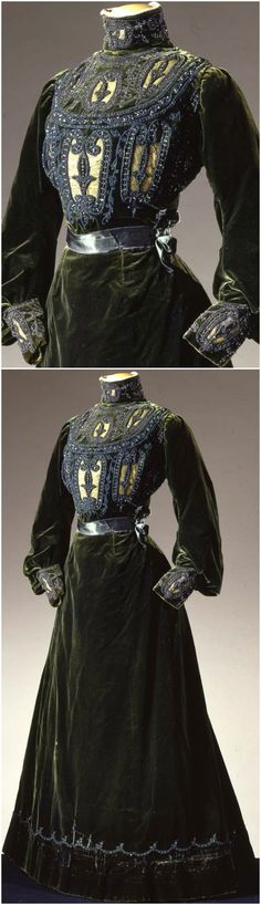 Two-piece dress in green velvet, by Grands Magasins Nouveautés C. Paventa, Rome, c. 1900, at the Pitti Palace Costume Gallery. Via Europeana Fashion.