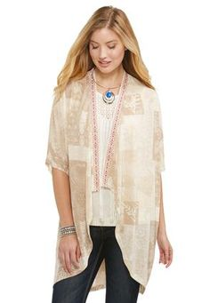 Cato Fashions Embroidered Trim Cocoon Cardigan #CatoFashions