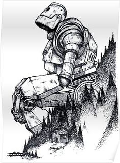 'Iron Giant' Poster by Deefex Cool Drawings, Drawing Sketches, Cool Sketches, Art Du Croquis, The Iron Giant, Arte Robot, Desenho Tattoo, Pointillism, Grafik Design