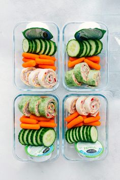 """Easily """"Meal Prep"""" these Ham and Cheddar Pinwheels with fresh fruit, fresh veggies, and Marzetti's Veggie Ranch Snack Packs My two little boys aren't quite old enough to go to a full day of school so I don't pack them school lunches yet, but they still love eating packed lunches on special occasions. We'll make... Healthy To Go Meals, Healthy Snacks With Fruit, Meals To Go, Healthy Kid Lunches, Snacks Saudaveis, Health Lunches, Work Lunches, Prepped Lunches, Healthy Drinks"""